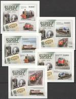 AA1118 IMPERFORATE 2010 S.TOME E PRINCIPE TRAINS RUDOLF DIESEL 5 LUX BL MNH - Eisenbahnen