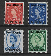 BAHRAIN 1952 - 1954 VALUES TO 12a On 1s 3d SG 80,81,86,88 MOUNTED MINT Cat £21.75 - Bahrain (...-1965)
