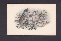 Cat Card -  Two Kittens With Mistletoe & Holly With Paper Scroll.   Early Chromo Card. - Chats