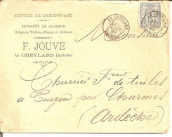 Le Cheylard (Ardèche) Cad Type 18 Sur N°90 - 1849-1876: Periodo Classico