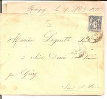 Remigny (Saône Et Loire). Boite Rurale Localisée De Chalon Sur Saône 1896 - 1849-1876: Periodo Classico