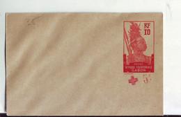 321  ENT Entier Postal  GABON  ENV Surcharge Déplacée - Storia Postale