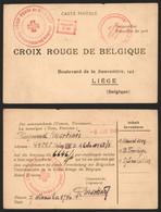 """Guerre 40-45 - CP """"croix Rouge De Belgique / Section Local D'Angleur"""" En Provenance Du Stalag XIII B + Gepruft D56 - Covers"""