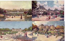 """Illustrateur TUCK Raphael - LOT 6 CPA  - PARIS - Jardin Du Luxembourg - """"Oilette"""" - Tuck, Raphael"""