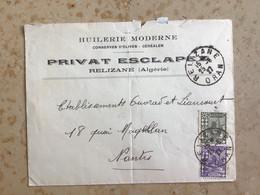 Algérie : Marcophilie ,Lettre CAD Oued- Relizane ,Oran 1927 Pr Nantes - Cartas