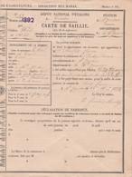 1892 St GAUDENS - CARTE DE SAILLIE - Dépôt National D'Étalons De TARBES - Étalon HUIS - Historical Documents