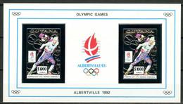 Olympic Games 1992 , Guyana  - Blok ( Zilver ) Postfris - Hiver 1992: Albertville