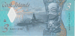 Cook Islands 3 Dollars ND ( 2021 ) P New 11 UNC Polymer Nice Number 011033 - Cook Islands