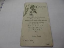 Menus Ancien 15 Février 1902 - Menus