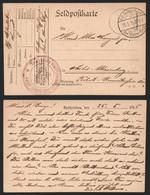"""Bataillon Allemand - Feldpostkarte + Briefstempel """"Kraftwagen Verplegungs Kolonne Marine Korps"""" + K.D. Feldpostamt Des M - Army: German"""