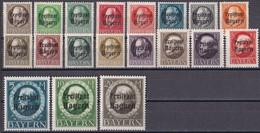 Bayern 1919/20 - Mi.Nr. 152 - 170 A - Postfrisch MNH - Bavaria