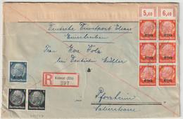 Sk1527 - KOLMAR - 1941 - MIXTE 2 Emissions - Hindenburg Non Surchargé ET Surchargé Elsass -Recommandé Double Port 54 Pfg - Alsace Lorraine