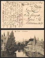"""Bataillon Allemand - Feldpostkarte (Brugge 1917) + Briefstempel """"Havenbouwkompagnie / Marinekorps"""" DFP 247 - Army: German"""