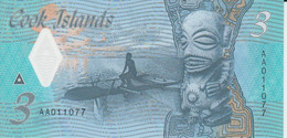 Cook Islands 3 Dollars ND ( 2021 ) P New 11 UNC Polymer Nice Number 011077 - Cook Islands