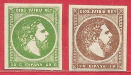 Espagne Carlistes N°3 1R Brun & N°4 50c Vert 1874-75 * - Carlistes