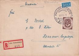 BUND  1953 LETTRE RECOMMANDEE DE FALLERSLEBEN AVEC CACHET ARRIVEE LANGENHAGEN - Lettres & Documents