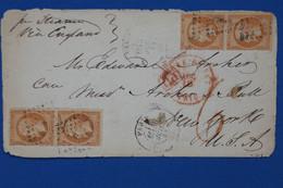C FRANCE BELLE LETTRE RARE  1863 PARIS  POUR NEW YORK USA + 2 PAIRES  DE N 23 40C  +PD  + AFFR   PLAISANT - 1853-1860 Napoléon III