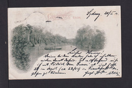 1 P. Bild Ganzsache Greetings From... - Mit Zufrankatur Ab Sydney Nach Fechenheim - Storia Postale
