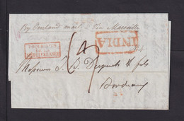 1843 - Brief Aus Calcutta Nach Bordeaux - Diverse Transit-Stempel - ...-1852 Prephilately