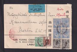 1934 - Mischfrankatur Auf Luftpostbrief Ab LABUAN Nach Berlin - Straits Settlements