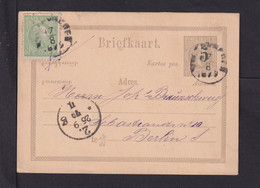 1879 - 5 C. Überdruck-Ganzsache Mit 5 C. Zufrankiert Ab Batavia Nach Berlin - Netherlands Indies