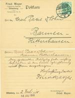 "Dillenburg Lahn 1910 "" Friedr.Mayer Zigarrenfabrik "" Frankierter Bedarf Geschäfts- Postkarte > Rittershausen Barmen - Dillenburg"
