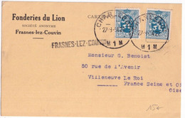 1934 - BELGIQUE - CP FONDERIES Du LION à FRASNES LEZ COUVIN Avec MARQUE LINEAIRE + CHARLEROI => VILLENEUVE LE ROI - Linear Postmarks