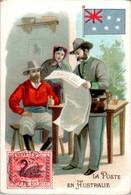 Chromo La Poste En Australie Post Postier Postman Drapeau Australien Flag Pays En Océanie Dos Blanc En B.Etat - Autres