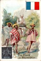 Chromo La Poste à Madagascar Post Postier Postman Drapeau Français Flag Pays En Afrique De L'Est Dos Blanc En TB.Etat - Autres