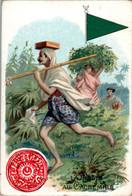 Chromo La Poste Au Cachemire Post Postier Postman Drapeau Flag Pakistan Inde Chine Asie Asiatique Dos Blanc En TB.Etat - Autres