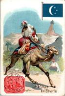 Chromo La Poste En Egypte Post Postier Postman Drapeau Flag Chameau Camel Dos Blanc En TB.Etat - Autres