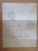France - CàD Paris Taxe 25c, 2e Levée Sur Enveloppe + CàD Les Batignolles Au Verso - 1849-1876: Classic Period
