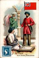 Chromo La Poste Aux Indes Anglaises Post Postier Postman Drapeau Flag Inde Britannique Dos Blanc En B.Etat - Autres