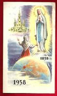 Image Pieuse Religieuse Holy Card Double Ed Bonamy - Centenaire Apparition Notre Dame De Lourdes 1858 1958 - Pèlerinage - Images Religieuses