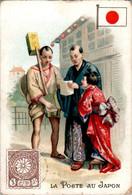 Chromo La Poste Au Japon Post Postier Postman Drapeau Japonais Flag Asie Asiatique Dos Blanc En B.Etat - Autres