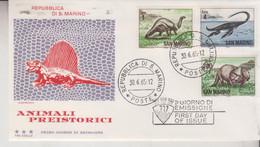 SAN MARINO - FDC - FIRST DAY COVER - DINOSAURI ANIMALI PREISTORICI 1965 (DINOSAURS PREHISTORIC ANIMALS) - FDC