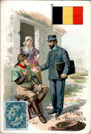 Chromo La Poste En Belgique Post Postier Postman Drapeau Belge Flag Pays De L'Europe De L'Ouest Dos Blanc En TB.Etat - Autres