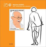 BURUNDI 2021 - SOUVENIR SHEET - JOINT ISSUE MAHATMA GANDHI 150 TH BIRTH ANNIVERSARY - RARE MNH - Mahatma Gandhi
