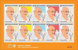 BURUNDI 2021 - MIXED SHEETLET 10v - JOINT ISSUE MAHATMA GANDHI 150 TH BIRTH ANNIVERSARY - RARE MNH - Mahatma Gandhi