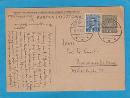 GANZSACHE MIT ZUSATZFRANKATUR  AUS BORZECICZKI NACH BRESLAU,1933. - Interi Postali