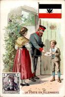 Chromo La Poste En Allemagne Post Postier Postman Drapeau Flag Pays D'Europe De L'Ouest Dos Blanc En TB.Etat - Autres