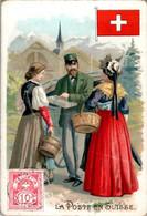 Chromo La Poste En Suisse Post Postier Postman Drapeau Flag Pays Montagneux D'Europe Dos Blanc En TB.Etat - Autres