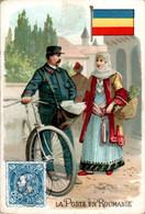 Chromo La Poste En Roumanie Post Postier Postman Drapeau Roumain Flag Pays D'Europe Du Sud-Est Vélo Bike Dos Blanc - Autres