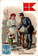 Chromo La Poste Au Danemark Post Postier Postman Drapeau Danois Flag Dos Blanc TB.Etat - Autres