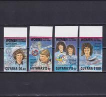 GUYANA 1990, Mi# 3091, 3094, 3095, 3098, Imperf, Silver Overprint, Part Set, Women In Space, MNH/MLH - Guyana (1966-...)
