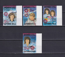 GUYANA 1990, Mi# 3091, 3094, 3095, 3098, Imperf, Red Overprint, Part Set, Women In Space, MNH - Guyana (1966-...)