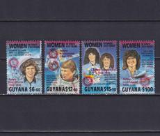 GUYANA 1990, Mi# 3091, 3094, 3095, 3098, Red Overprint, Part Set, Women In Space, MNH - Guyana (1966-...)