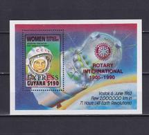 GUYANA 1990, Mi# Bl 80, Red Overprint, Women In Space, MNH - Guyana (1966-...)