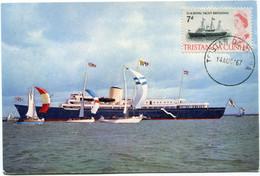 TRISTAN DA CUNHA CARTE POSTALE H.M.Y. BRITANNIA OFF COWES AVEC OBLITERATION TRISTAN DA CUNHA 14 AUG 67 - Ships