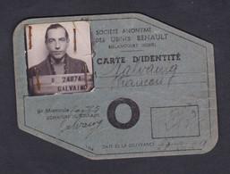 Photo Francois Galvaing Carte Identité Societe Anonyme Des Usines Renault Automobile à Presenter à L'entrée - Identified Persons
